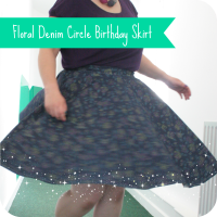 floral denim circle skirt