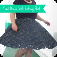 floral denim circle skirt
