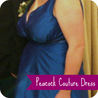 peacock couture dress
