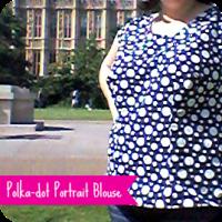 Polka-dot portrait blouse