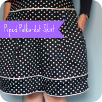polka piped skirt